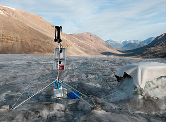 Wind turbine powering seismic station in Greenland