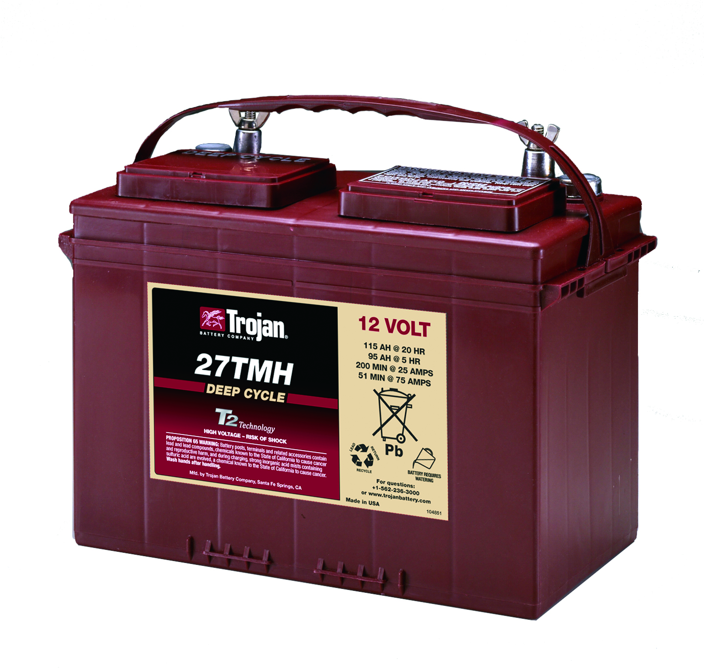 Trojan 115Ah Deep Cycle Battery (wing nut terminals