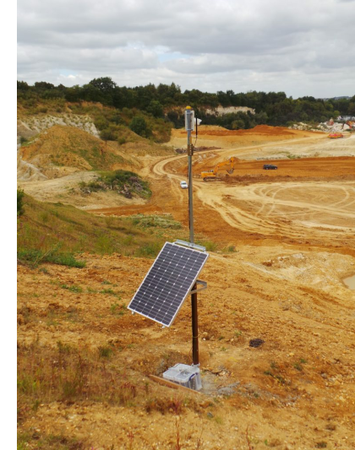 Solar powered time lapse photography on a construction site